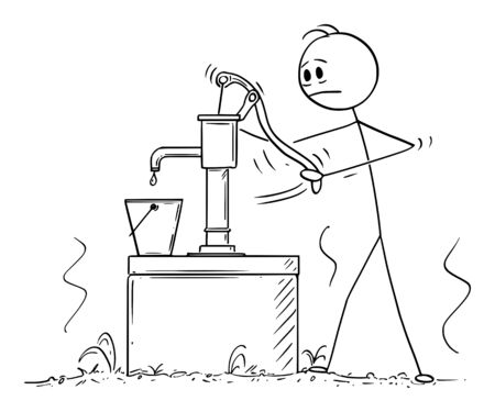 Vector cartoon stick figure drawing conceptual illustration of depressed man or farmer trying to pump or draw water From Empty Dry Well