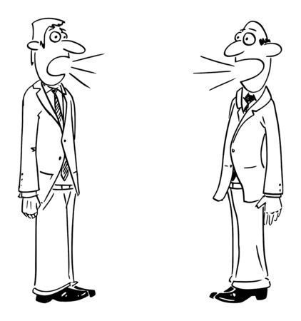 Vector funny comic cartoon drawing of two businessmen or men talking. Concept of discussion or communication.