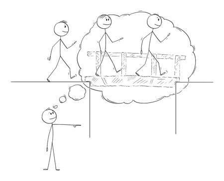 Vector cartoon stick figure drawing conceptual illustration of visionary leader or manager imaging the problem solution and leading business team over the bridge to success.