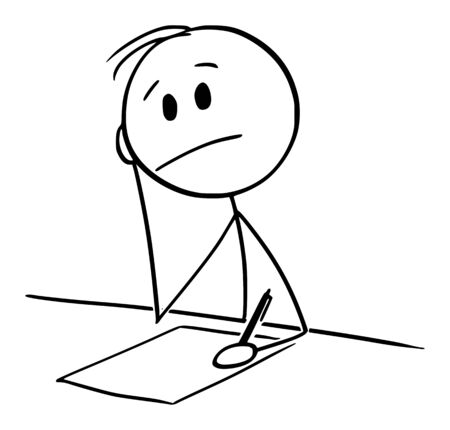 Vector cartoon stick figure drawing conceptual illustration of man thinking while sitting on table and writing on paper with ballpoint pen.