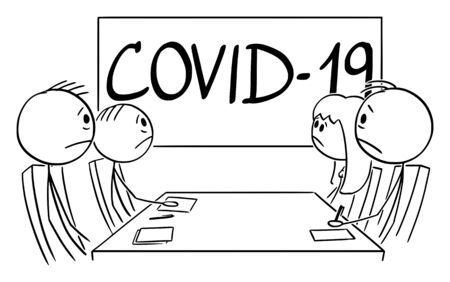 Vector cartoon stick figure drawing conceptual illustration of unhappy business people on meeting thinking about coronavirus Covid-19 disease.