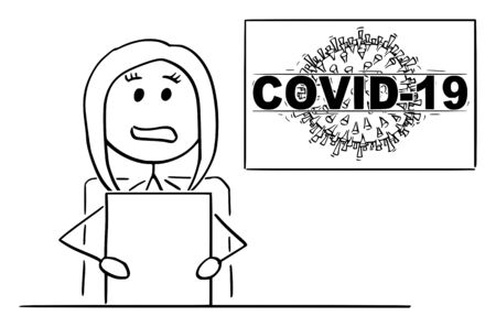 Vector cartoon stick figure drawing conceptual illustration of female newscaster or newsreader in television studio talking about coronavirus COVID-19 epidemic disease.