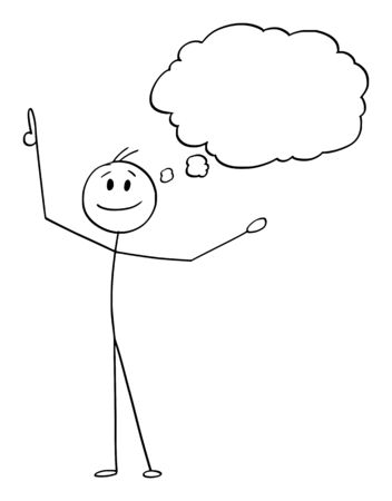 Vector cartoon stick figure drawing conceptual illustration of happy smiling man or businessman who just got an idea. Empty speech bubble or balloon for your text,