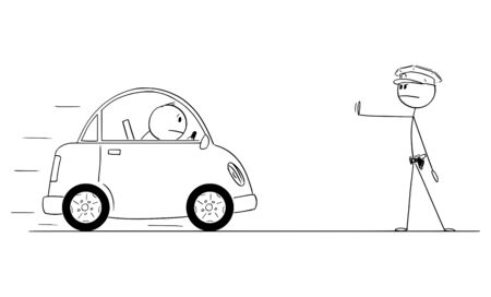 Vector cartoon stick figure drawing conceptual illustration of policeman or traffic police stops the car.