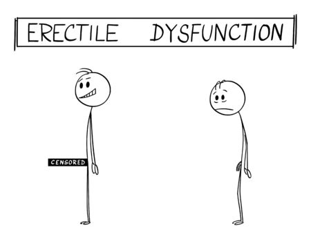 Vector cartoon stick figure drawing conceptual illustration of man with and without erectile dysfunction or impotence. Funny illustrative cartoon image.