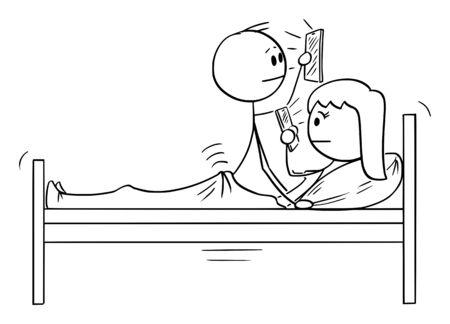 Vector cartoon stick figure dessin illustration conceptuelle d'un couple d'homme et de femme au lit, les deux utilisent un téléphone portable tout en ayant ou en ayant des rapports sexuels.