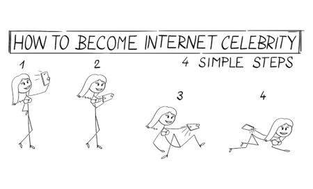Vector cartoon stick figure drawing conceptual illustration of women taking photos of yourself to be internet celebrity. Creating content for social media. Success and shallowness. Sex sells. Ilustración de vector