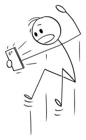 Vektor-Cartoon-Strichmännchen zeichnen konzeptionelle Darstellung des Springens schockiert oder überrascht Mann, der etwas auf dem Handy beobachtet.
