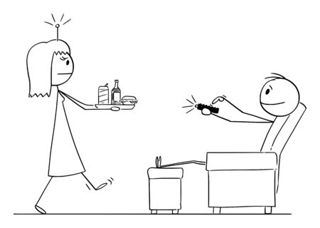 Vector cartoon stick figure drawing conceptual illustration of man or husband sitting in chair controlling his woman or wife by remote control device.
