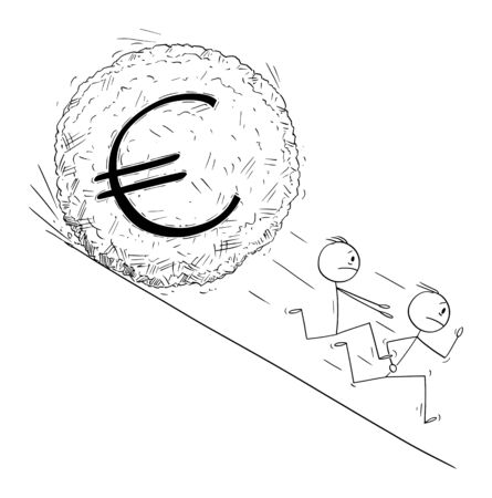 Vector cartoon stick figure drawing conceptual illustration of group of investor or businessmen running away from euro currency symbol boulder rolling down hill. Financial concept.