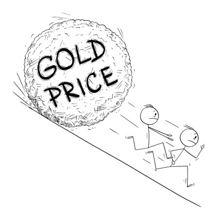 Vector cartoon stick figure drawing conceptual illustration of group of investor or businessmen running away from gold price boulder rolling down hill. Financial concept.