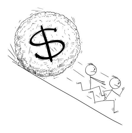 Vector cartoon stick figure drawing conceptual illustration of group of investor or businessmen running away from dollar currency symbol boulder rolling down hill. Financial concept.