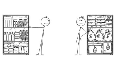 Vector cartoon stick figure drawing conceptual illustration of man with stockpile of food for and rich man with stockpile of money and gold for crisis.