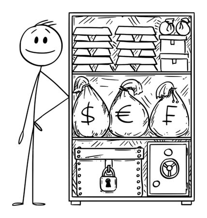 Vector cartoon stick figure drawing conceptual illustration of wealthy or rich man with stockpile of money and gold for crisis.  イラスト・ベクター素材