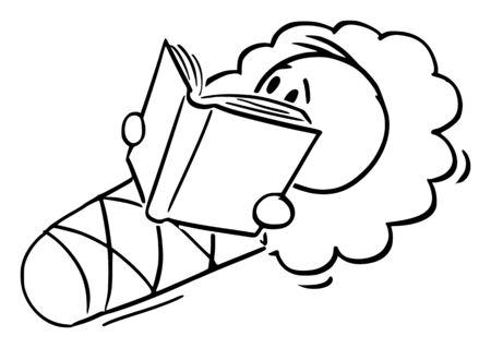 Vector cartoon stick figure drawing conceptual illustration of wrapped baby in wrap or swaddle blanket holding, reading or studying book.