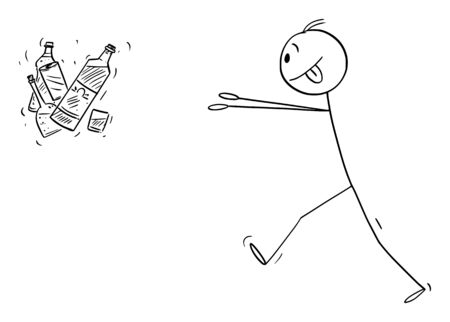 Vector cartoon stick figure drawing conceptual illustration of addicted man trying to get bottles of hard liquor or alcohol.  イラスト・ベクター素材