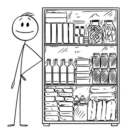 Vector cartoon stick figure drawing conceptual illustration of man with stockpile of food for crisis or coronavirus covid-19 epidemic.