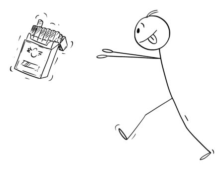 Vector cartoon stick figure drawing conceptual illustration of nicotine addicted man trying to get box of cigarettes.  イラスト・ベクター素材