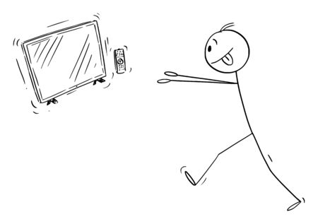 Vector cartoon stick figure drawing conceptual illustration of media addicted man trying to get to TV, telly or television entertainment.