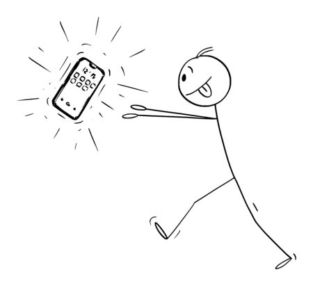 Vector cartoon stick figure drawing conceptual illustration of addicted man trying to get new mobile phone or telephone or cellphone or smartphone.