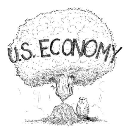 Vector cartoon drawing conceptual illustration of tree representing U.S. economy weakened by crisis as beaver. Concept of financial crisis, debt or coronavirus in United States of America.