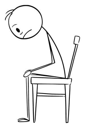 Vector cartoon stick figure drawing conceptual illustration of depressed or sad man in stress sitting on chair.