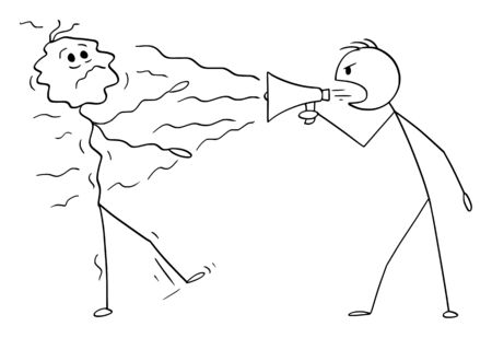 Vector cartoon stick figure drawing conceptual illustration of man, politician or businessman using loudspeaker or megaphone to shout on another man.