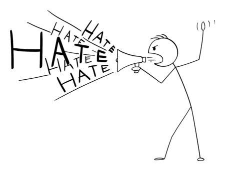 Vector cartoon stick figure drawing conceptual illustration of man or politician using loudspeaker or megaphone to spread hate or propaganda.