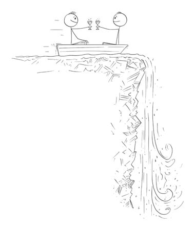 Vector cartoon stick figure drawing conceptual illustration of two men or businessmen on rowboat or rowing boat celebrating and approaching to waterfall. Concept of financial crisis and depression.