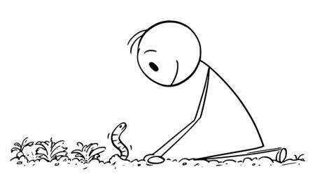 Vector cartoon stick figure drawing conceptual illustration of farmer or gardener looking at dew worm or earthwork on garden bed or field.