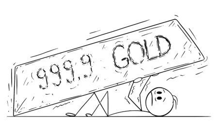 Vector cartoon stick figure drawing conceptual illustration of man, stock market investor or businessman crushed under gold bar or ingot.