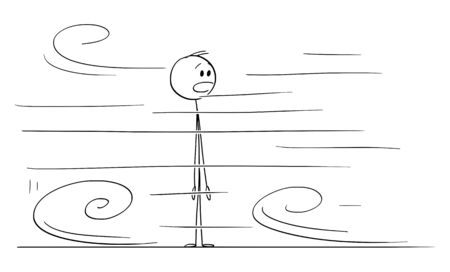 Vector cartoon stick figure drawing conceptual illustration of shocked or surprised man looking at something very fast moving around him.