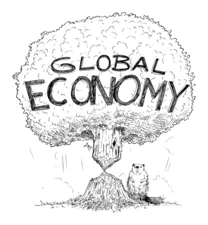 Vector cartoon drawing conceptual illustration of tree representing Global economy weakened by crisis as beaver. Concept of financial crisis, debt or coronavirus in world.