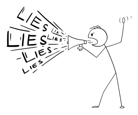 Vector cartoon stick figure drawing conceptual illustration of man or politician using loudspeaker or megaphone to spread lies.