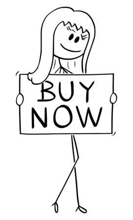 Vector cartoon stick figure drawing conceptual illustration of beautiful sexy young woman in seductive pose holding buy now sign or button.