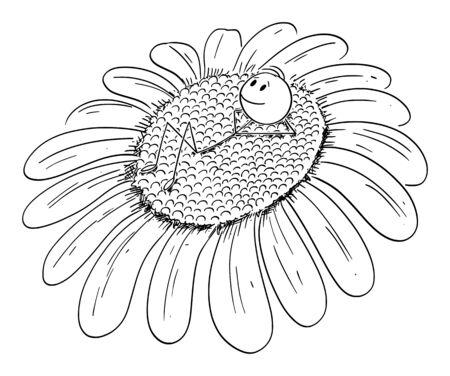 Vector cartoon stick figure drawing conceptual illustration of man, gardener or day dreamer enjoying lying on sunflower or daisy flower.