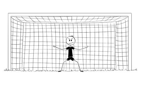 Vector cartoon stick figure drawing conceptual illustration of football or soccer goalkeeper or goalie in goal ready to catch a ball during play. 向量圖像