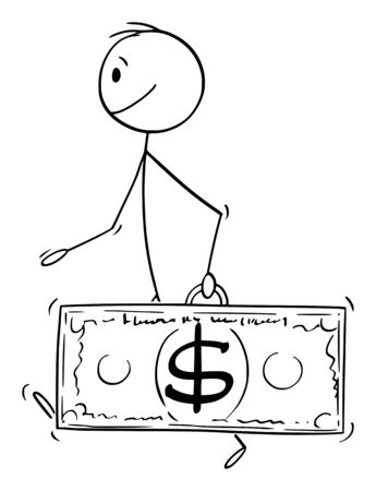 Vector cartoon stick figure drawing conceptual illustration of walking man or businessman carrying dollar currency bill or banknote case.