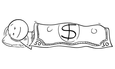 Vector cartoon stick figure drawing conceptual illustration of happy man or businessman sleeping under US dollar currency banknote or bill as blanket.