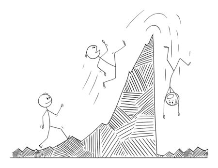 Vector cartoon stick figure drawing conceptual illustration of man, businessman or stock investor walking and falling on the financial graph. Market cycle concept.
