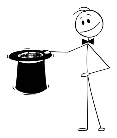 Vector cartoon stick figure drawing conceptual illustration of magician holding big black top hat ready to do some magic.