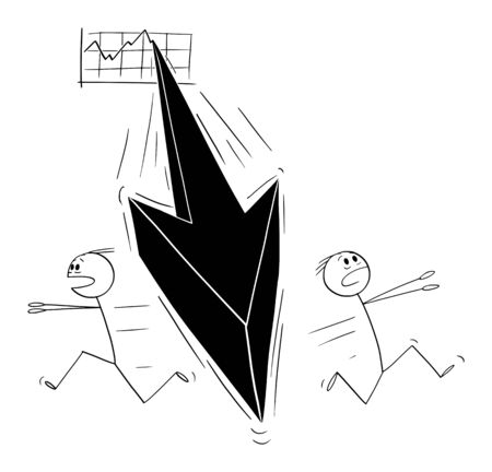 Vector cartoon stick figure drawing conceptual illustration of two men or businessmen running away in panic from the falling financial graph arrow. Crisis or recession concept.