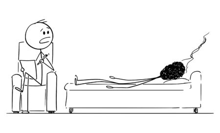 Vector cartoon stick figure drawing conceptual illustration of burnout, tired and stressed man or businessman represented as burnt-out match, talking as patient with psychiatrist.