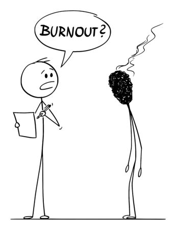 Vector cartoon stick figure drawing conceptual illustration of burnout, tired and stressed man or businessman represented as burnt-out match, talking in work with his boss or manager.