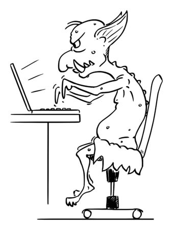Vector cartoon stick figure drawing conceptual illustration of virtual Internet troll assaulting other online users in flame wars typing on computer. Иллюстрация