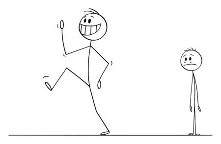 Vector cartoon stick figure drawing conceptual illustration of happy smiling man, employee, worker or customer leaving sad depressed man, employer or businessman in background.
