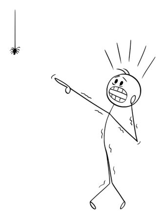 Vector cartoon stick figure drawing conceptual illustration of frightened man with arachnophobia watching small spider and undergoes panic attack.