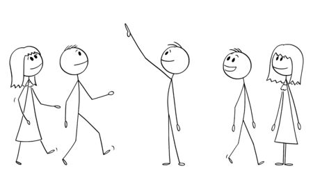 Vector cartoon stick figure drawing conceptual illustration of group or crowd of smiling people watching something good above them. They show positive emotion or facial expression. Ilustração