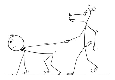 Vector cartoon stick figure drawing conceptual illustration of dog walking or keeping human or man on leash or lead. Illustration
