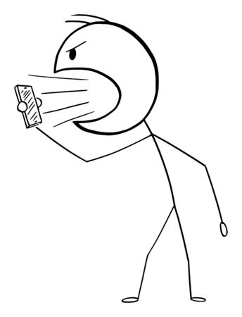 Vector cartoon stick figure drawing conceptual illustration of angry man or businessman shouting or yelling on someone in cellphone or mobile phone. Vektoros illusztráció